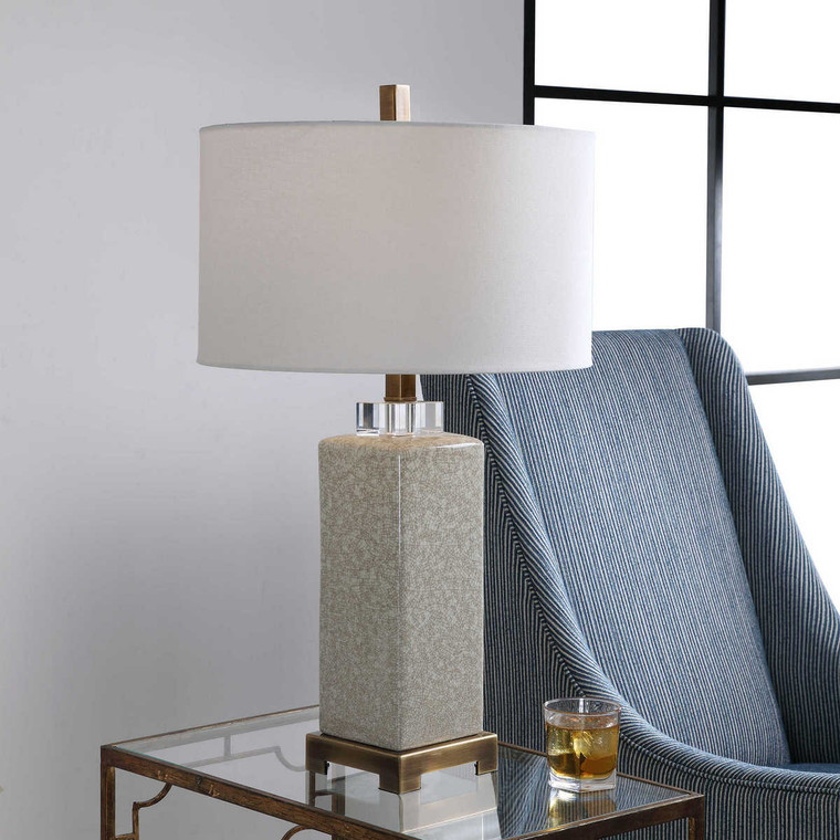 Irie Crackled Taupe Table Lamp - Size: 76H x 43W x 43D (cm)