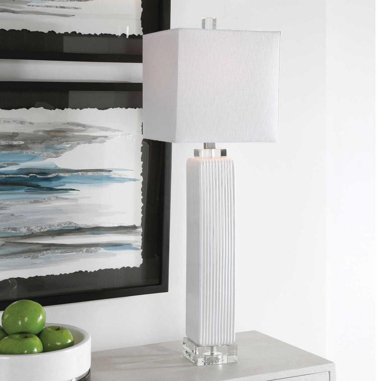 Bennett White Buffet Lamp - Size: 83H x 25W x 25D (cm)