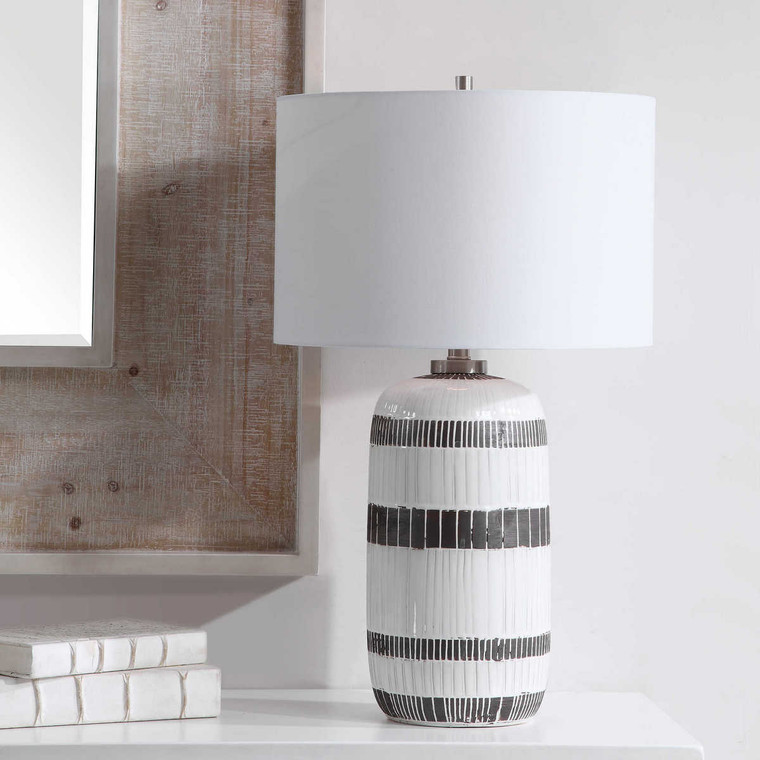 Granger Striped Table Lamp - Size: 73H x 43W x 43D (cm)