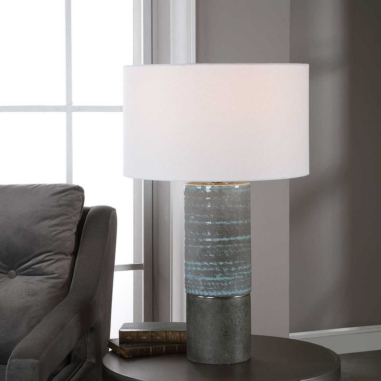 Prova Gray Textured Table Lamp - Size: 71H x 43W x 43D (cm)