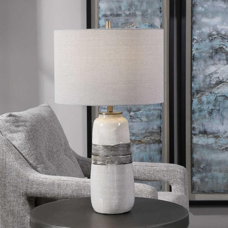Comanche White Crackle Table Lamp - Size: 67H x 38W x 38D (cm)
