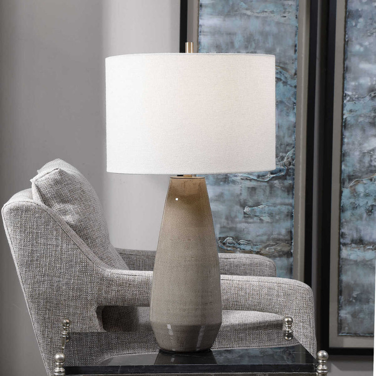 Volterra Taupe-Gray Table Lamp - Size: 70H x 38W x 38D (cm)