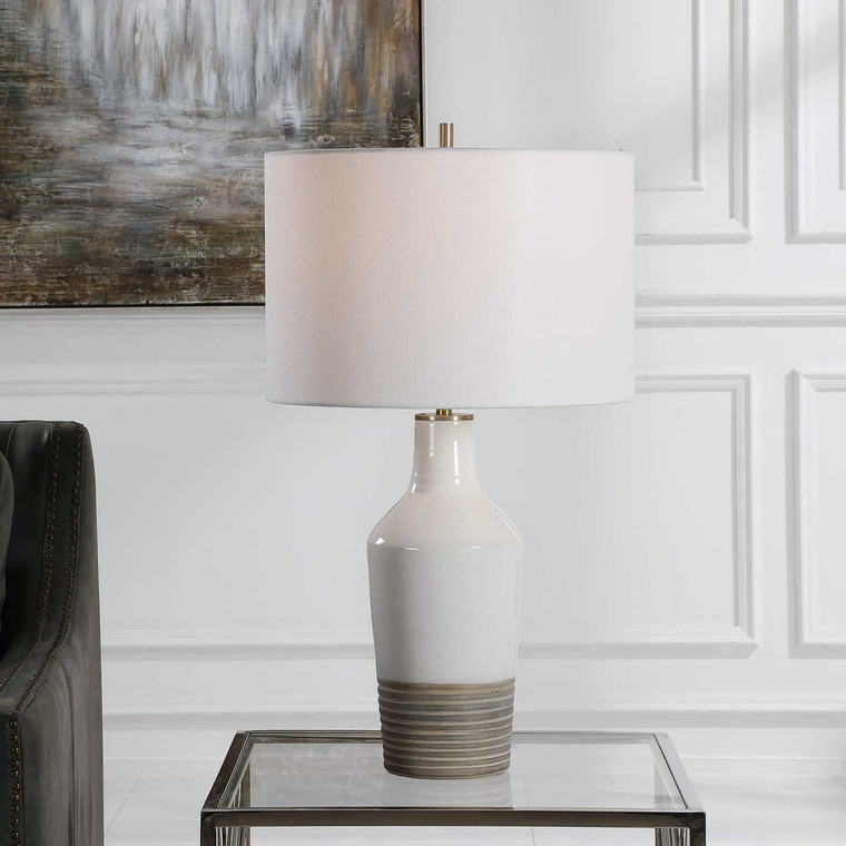 Dakota White Crackle Table Lamp - Size: 67H x 38W x 38D (cm)