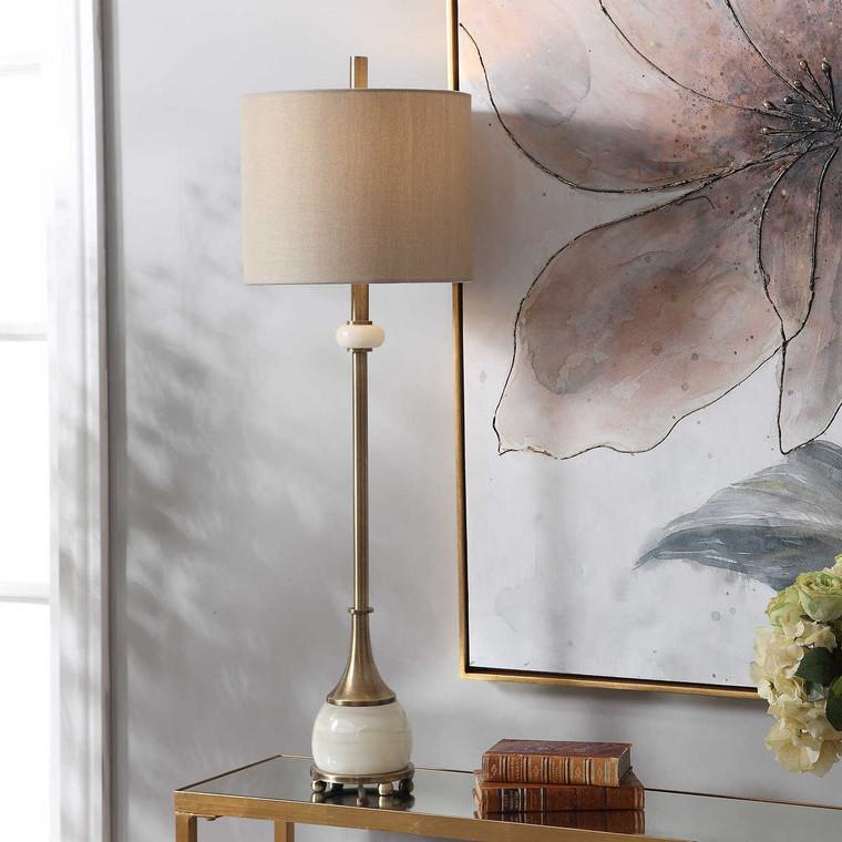 Natania Plated Brass Buffet Lamp - Size: 89H x 28W x 28D (cm)