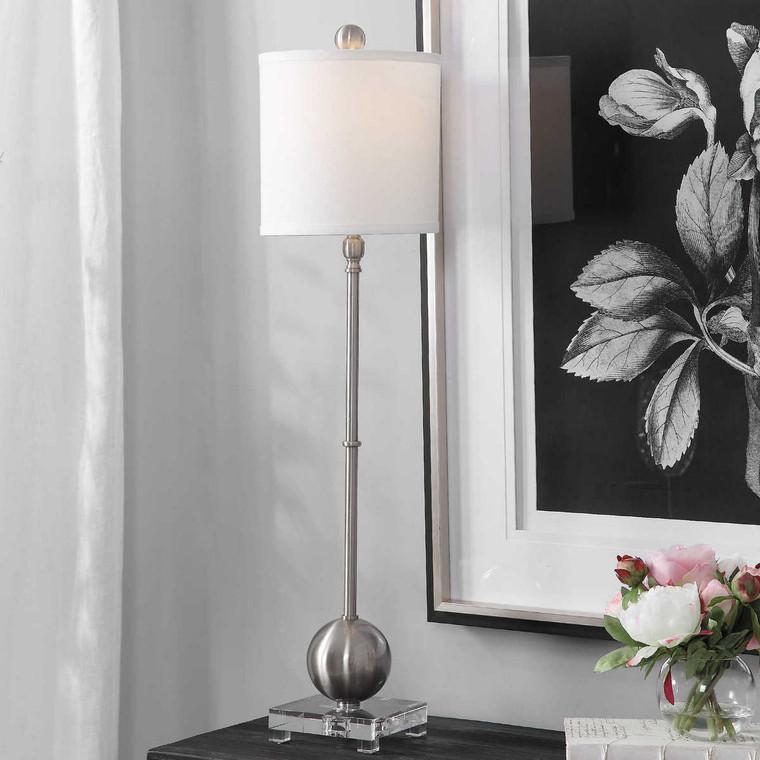 Laton Silver Buffet Lamp - Size: 91H x 23W x 23D (cm)