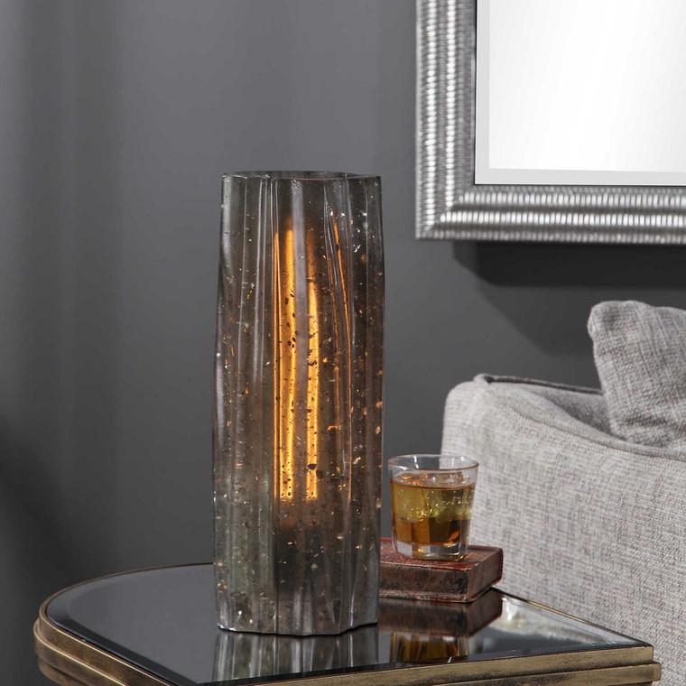 Cadeau Charcoal Glass Accent Lamp - Size: 39H x 14W x 14D (cm)