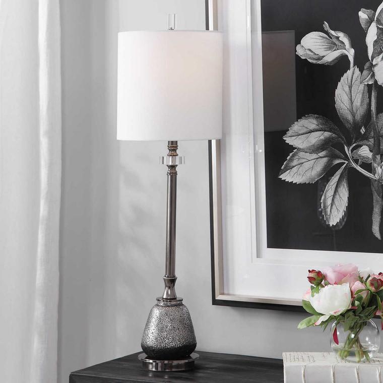 Rana Silver Buffet Lamp - Size: 91H x 27W x 27D (cm)