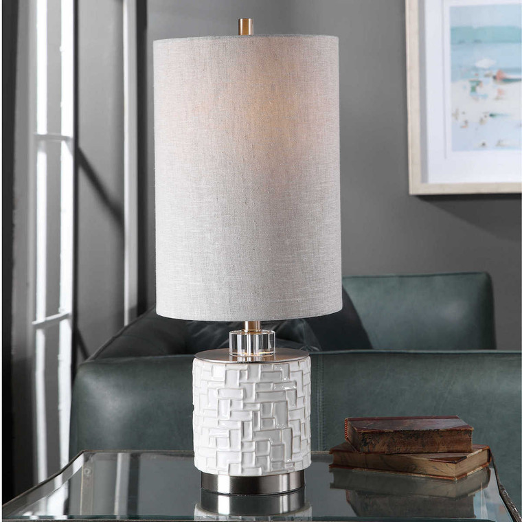 Elyn Glossy White Accent Lamp - Size: 65H x 25W x 25D (cm)