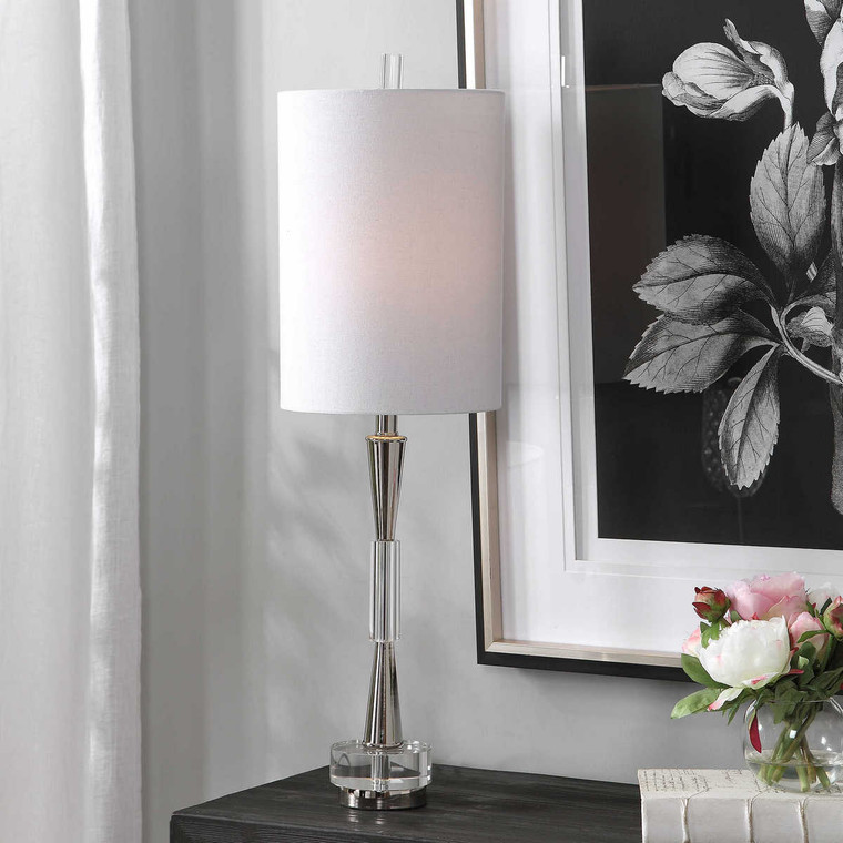Azaria Polished Nickel Buffet Lamp - Size: 84H x 25W x 25D (cm)