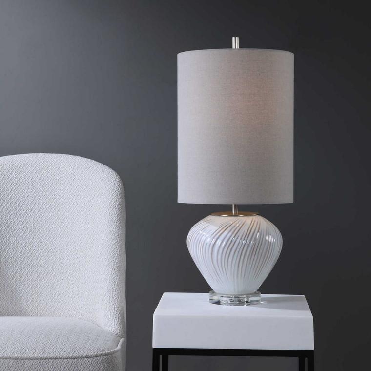 Lucerne White Buffet Lamp - Size: 64H x 28W x 28D (cm)