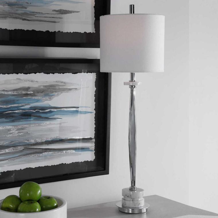Magnus Chrome Buffet Lamp - Size: 91H x 28W x 28D (cm)