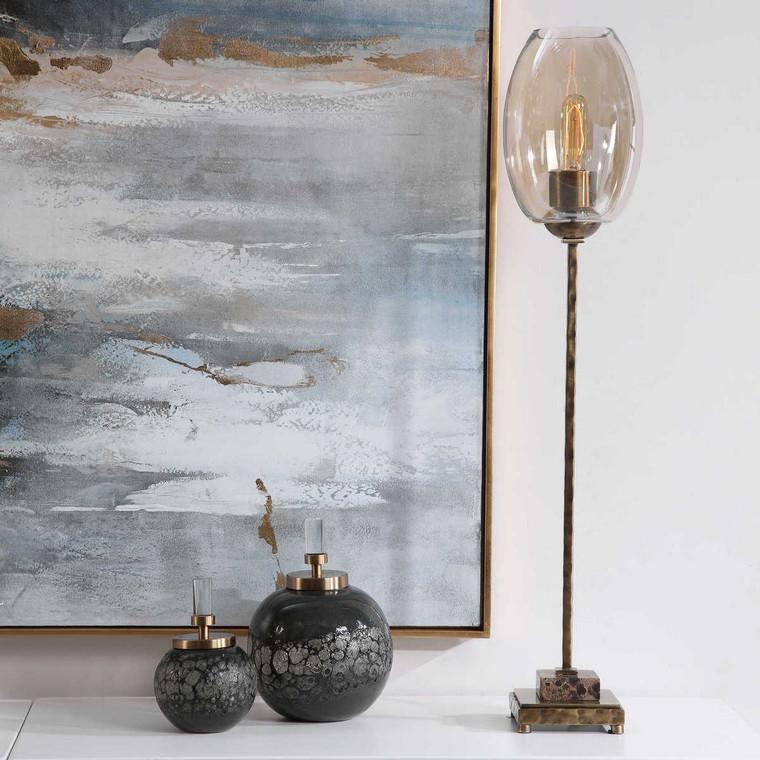 Marconi Brass Buffet Lamp - Size: 86H x 18W x 18D (cm)
