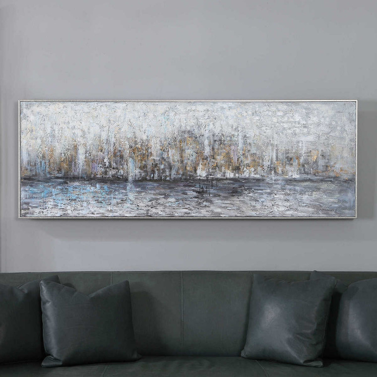 City Reflection Hand Painted Canvas - Size: 62H x 177W x 5D (cm)