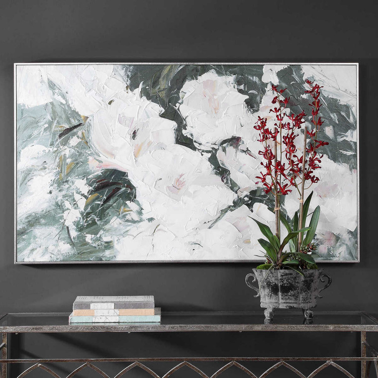 Sweetbay Magnolias Hand Painted Art - Size: 84H x 145W x 6D (cm)