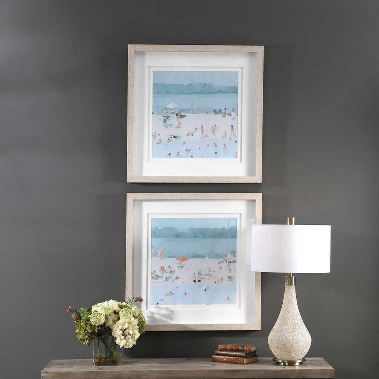 Sea Glass Sandbar Framed Prints Set/2 - Size: 77H x 77W x 5D (cm)