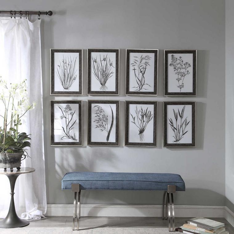 Classic Botany Framed Prints Set/8 - Size: 53H x 38W x 3D (cm)