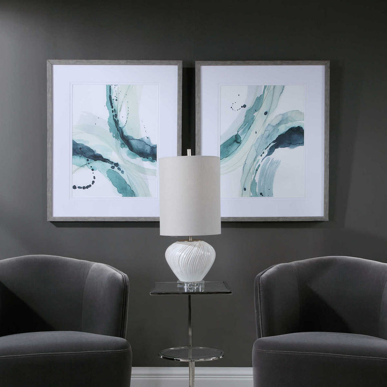 Depth Abstract Watercolor Prints Set/2 - Size: 85H x 70W x 3D (cm)