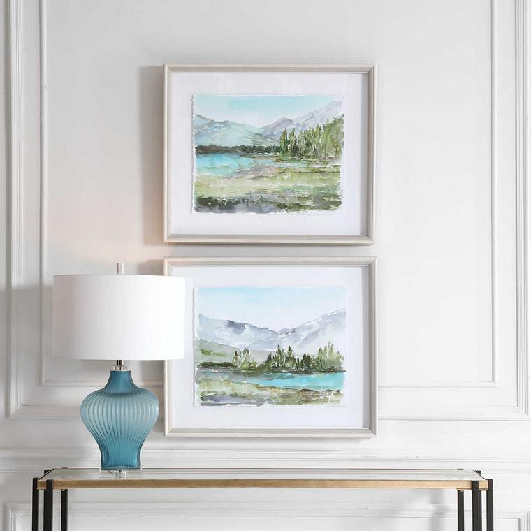 Plein Air Reservoir Watercolor Prints Set/2 - Size: 58H x 69W x 6D (cm)