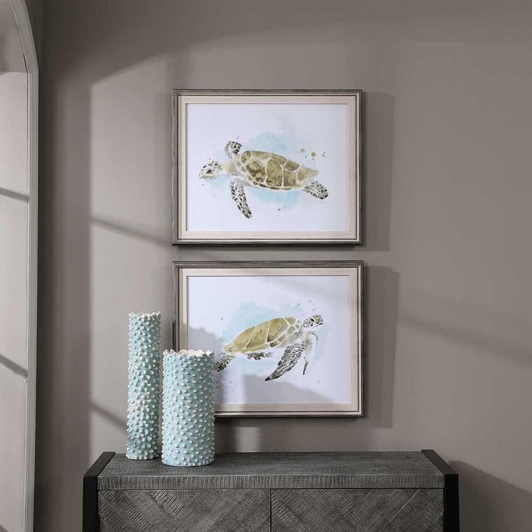 Sea Turtle Study Watercolor Prints Set/2 - Size: 53H x 64W x 3D (cm)