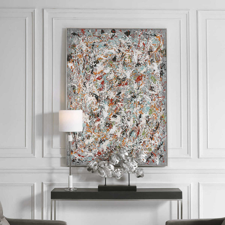 Organized Chaos Hand Painted Canvas - Size: 154H x 114W x 6D (cm)