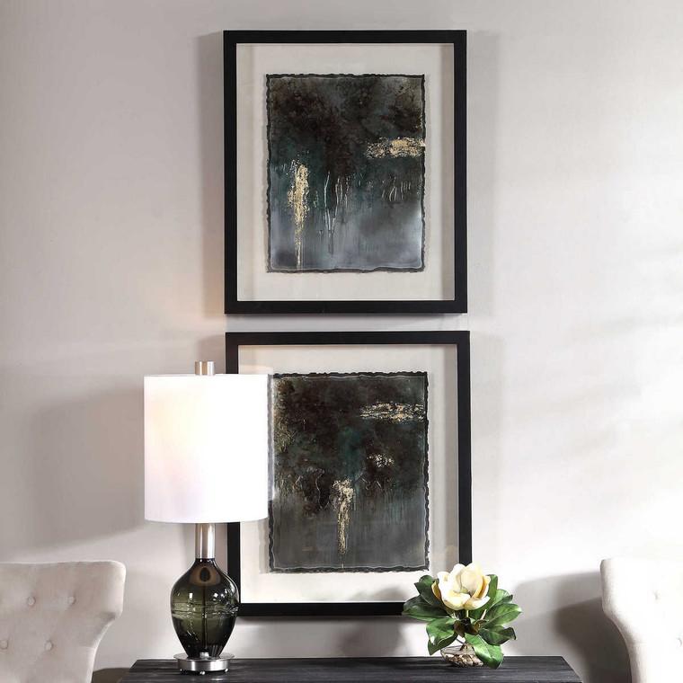 Rustic Patina Framed Prints Set/2 - Size: 74H x 64W x 6D (cm)