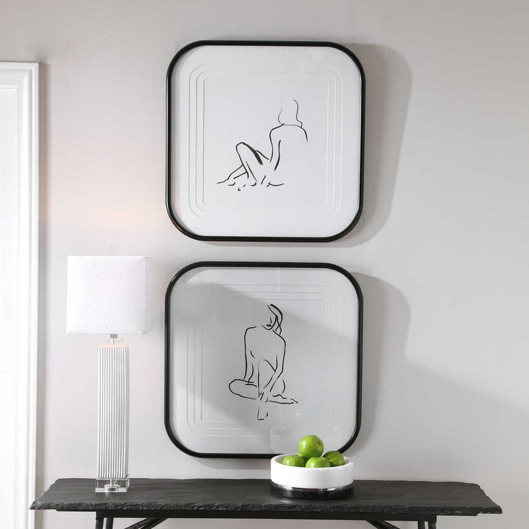 Feminine Sketch Framed Prints Set/2 - Size: 72H x 72W x 3D (cm)