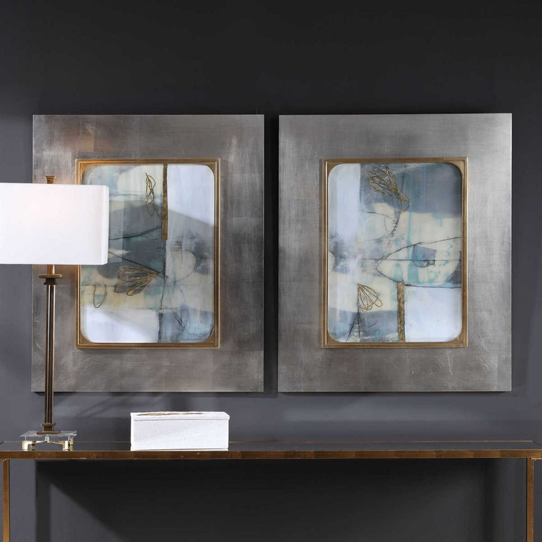 Gilded Whimsy Abstract Prints Set/2 - Size: 93H x 77W x 3D (cm)