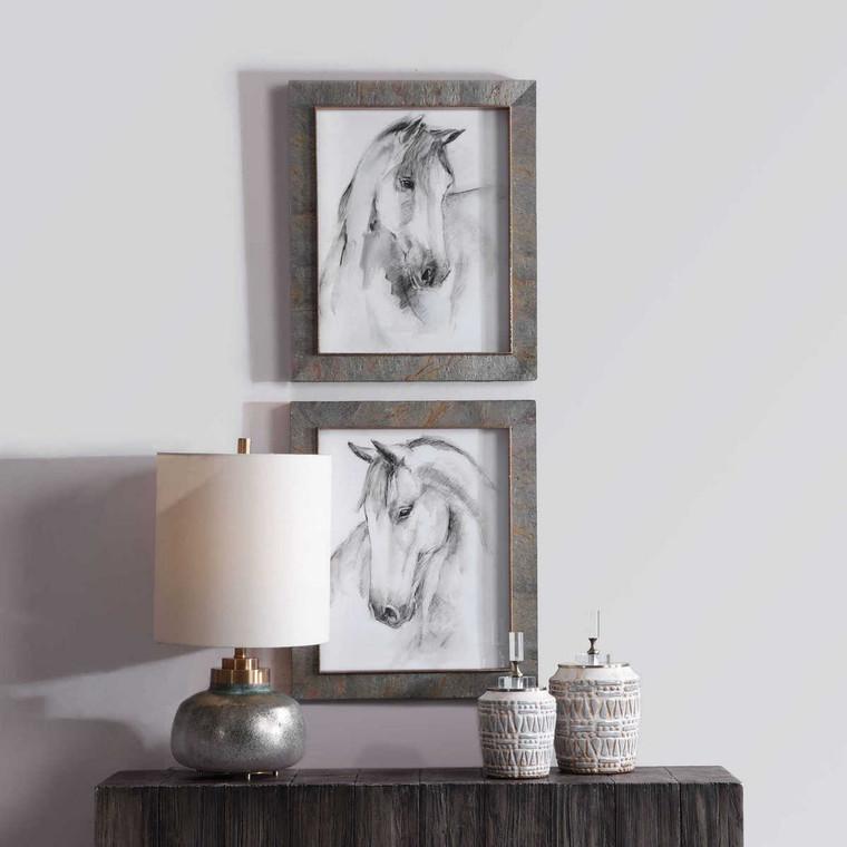 Equestrian Watercolor Framed Prints Set/2 - Size: 58H x 48W x 5D (cm)