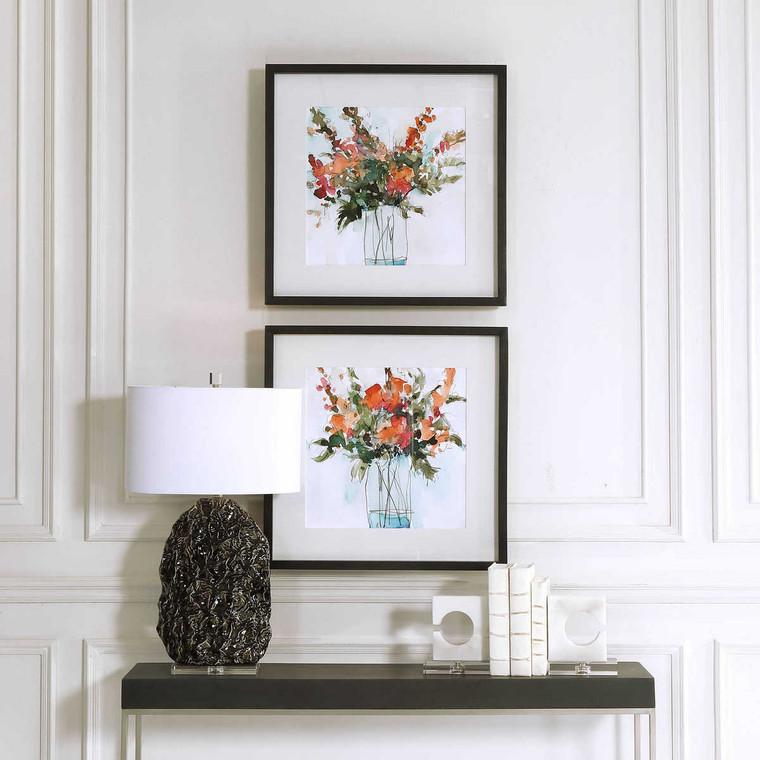 Fresh Flowers Watercolor Prints Set/2 - Size: 67H x 67W x 5D (cm)