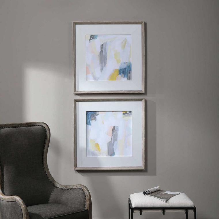 Fractal Pastel Abstract Art Set/2 - Size: 77H x 77W x 5D (cm)