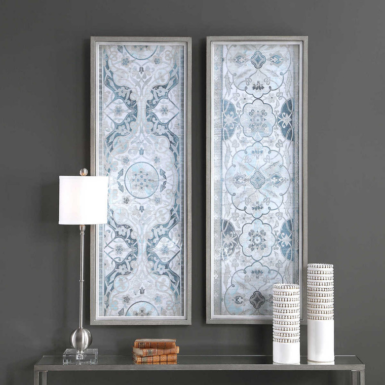 Vintage Persian Panels Framed Prints Set/2 - Size: 141H x 50W x 5D (cm)