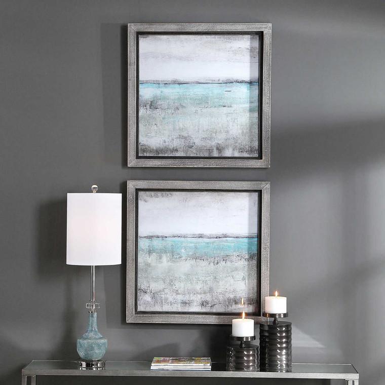 Aqua Horizon Framed Prints Set/2 - Size: 69H x 69W x 5D (cm)