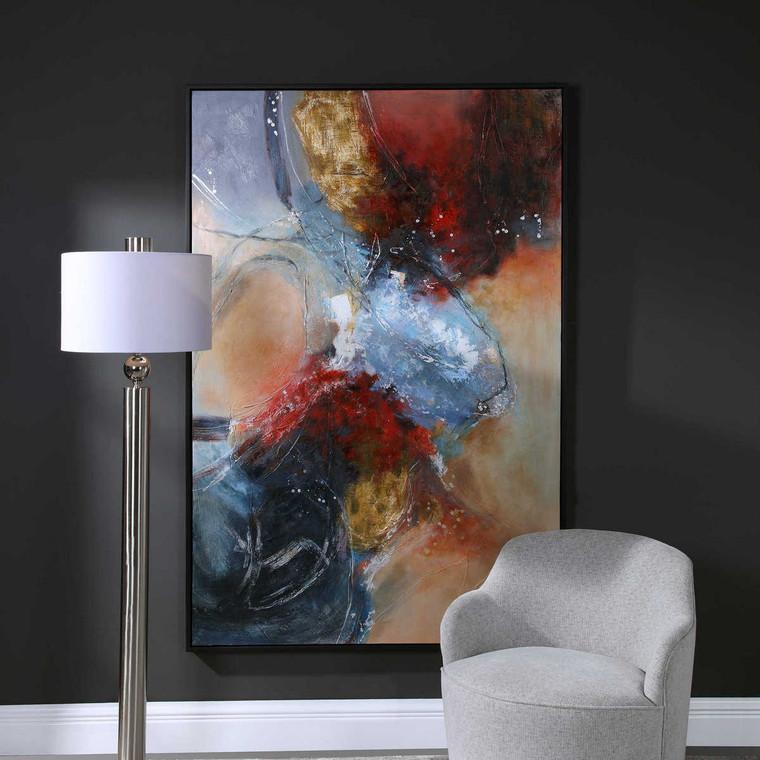 Summer Sunset Abstract Art - Size: 187H x 126W x 4D (cm)