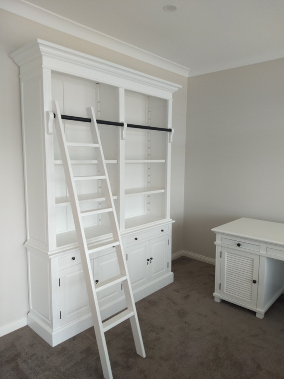 Marseille 4 Door Bookcase + Ladder (Matt White)