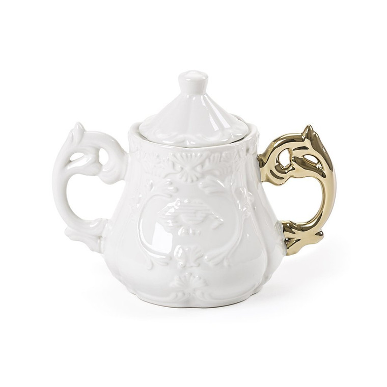 Sugar Bowl - White with Gold Handle