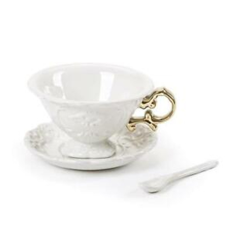 Tea Cup - White with Gold Handle