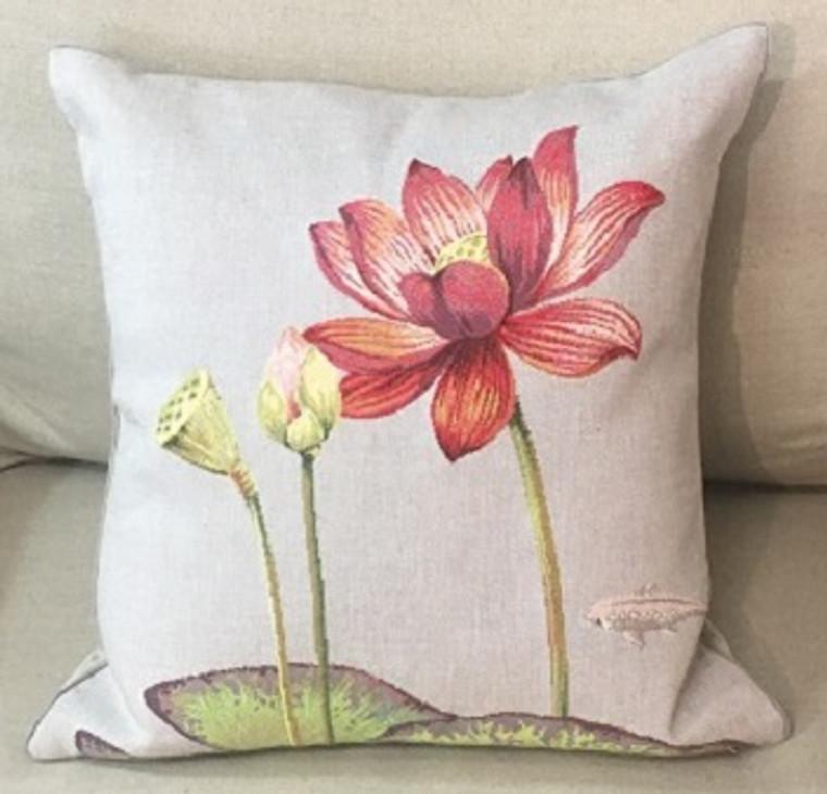 Cushion - Singly Lily & Fish Dark Grey