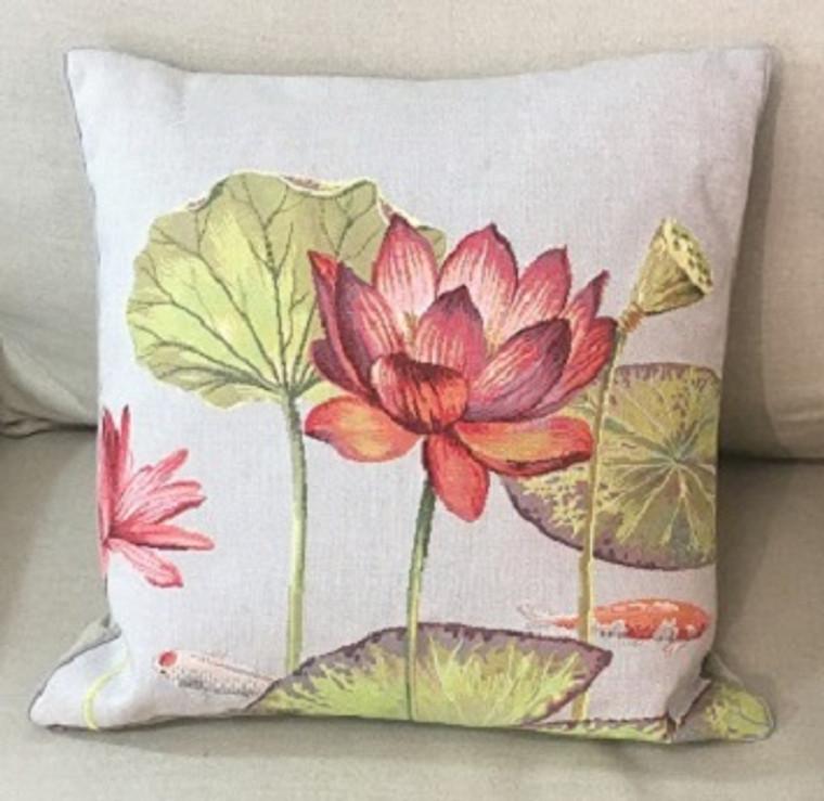 Cushion - Singly Lily & 2 Fish Dark Grey