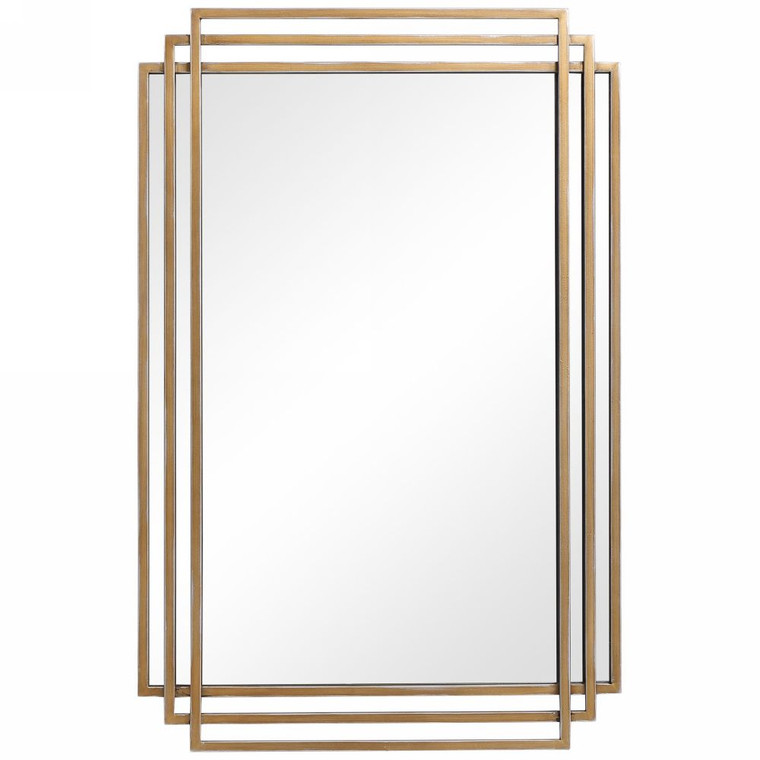 Amherst Brushed Gold Mirror - Size: 93H x 60W x 4D (cm)