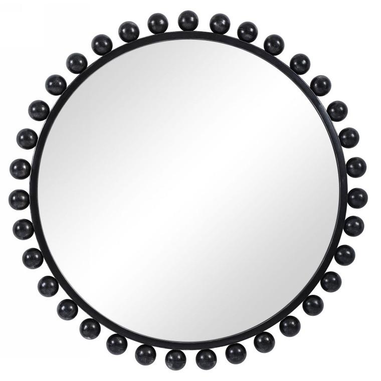Cyra Black Round Mirror - Size: 112H x 112W x 7D (cm)