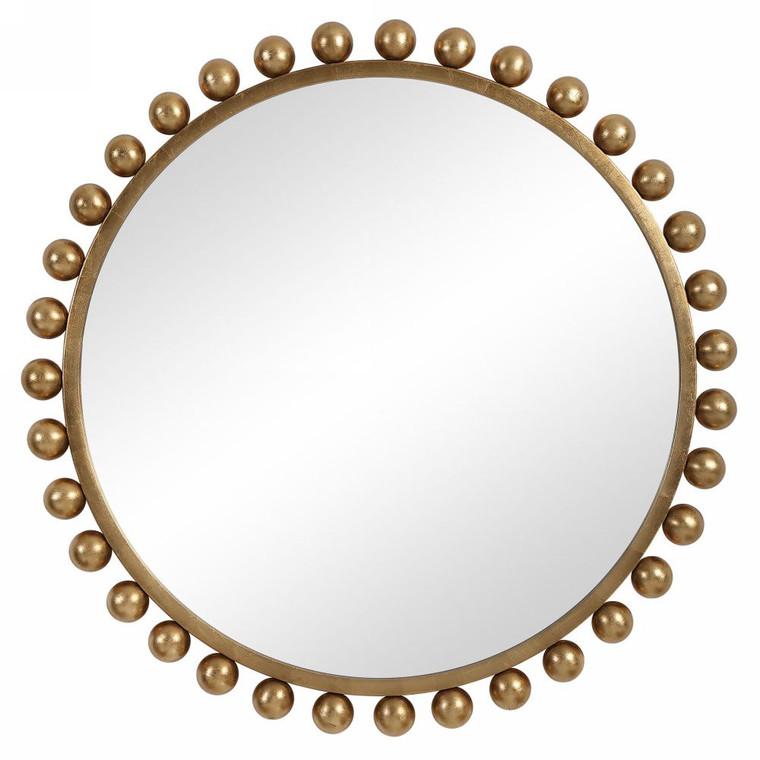 Cyra Gold Round Mirror - Size: 112H x 112W x 7D (cm)