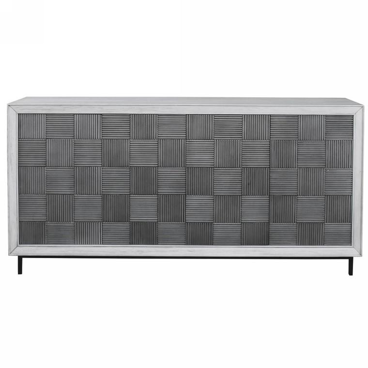 Checkerboard 4 Door Gray Cabinet - Size: 84H x 170W x 44D (cm)