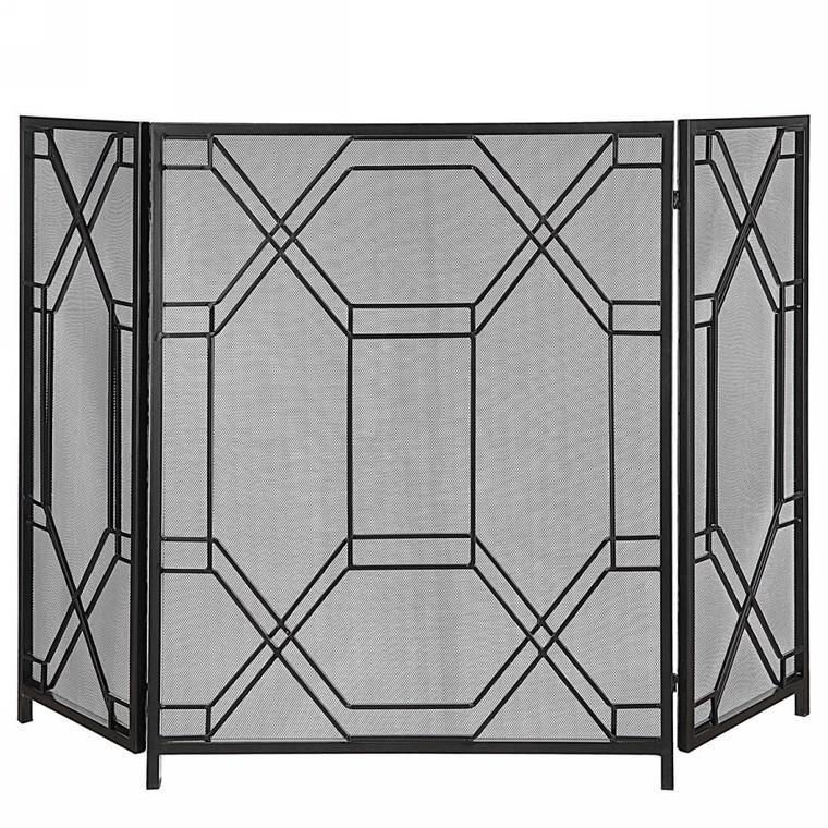 Rosen Fireplace Screen Black by Uttermost