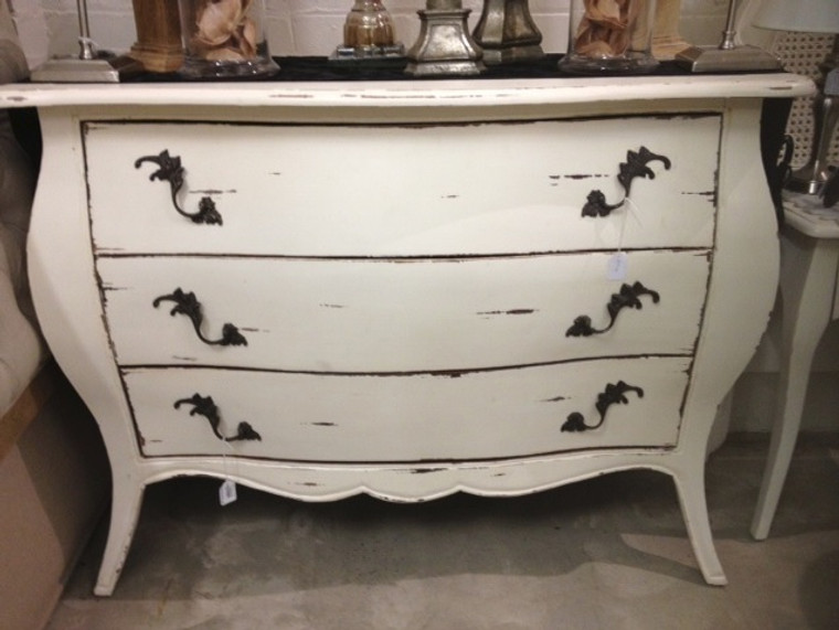 Bombe 3 Drawer Chest - White Heavy Distress