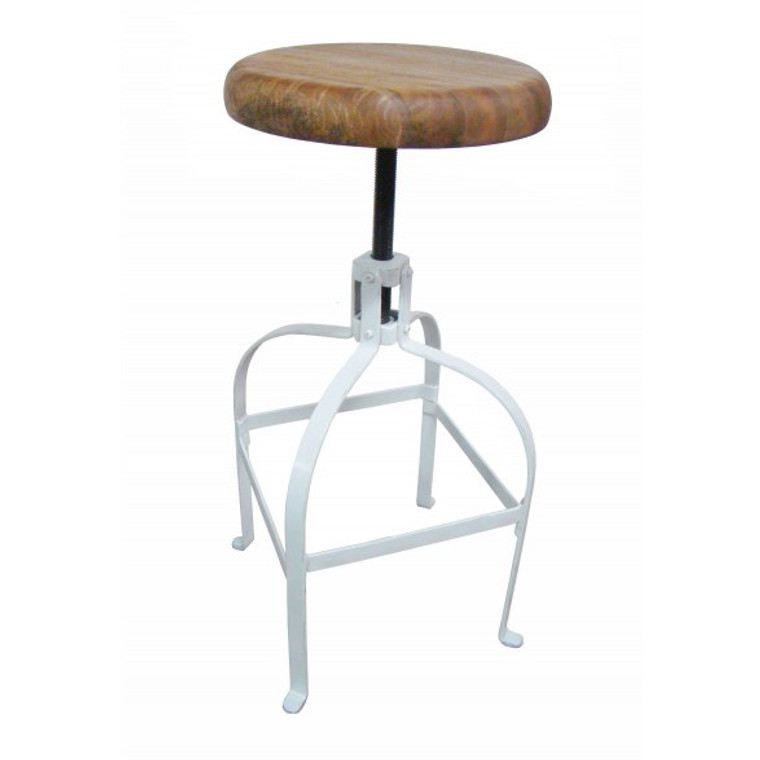 Industrial Screw Counter Bar Stool - White