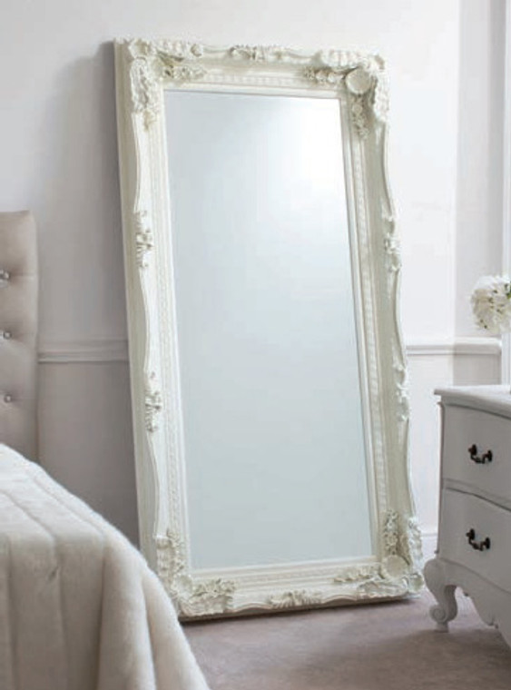 "Carved Louis Leaner Mirror Cream 69x35.5"""" Gallery Direct"""""