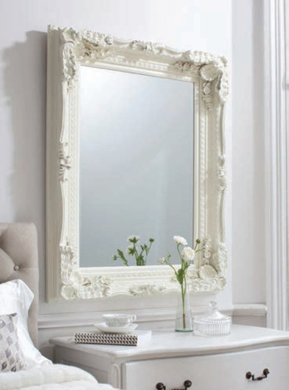 "Carved Louis Mirror Cream 47x35.5"""" Gallery Direct"""""