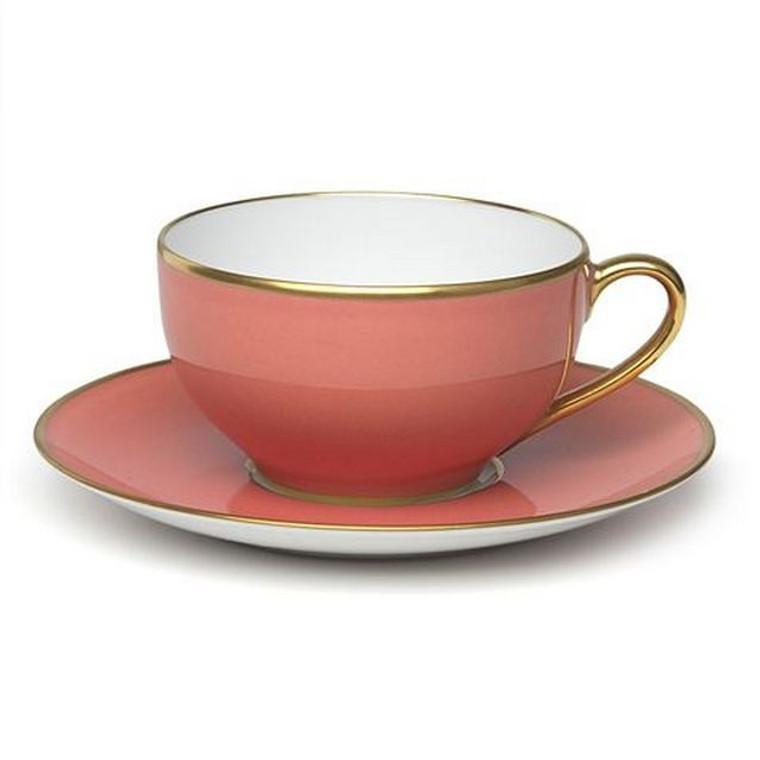 Limoges Legle Tea Cup & Saucer - Old Rose