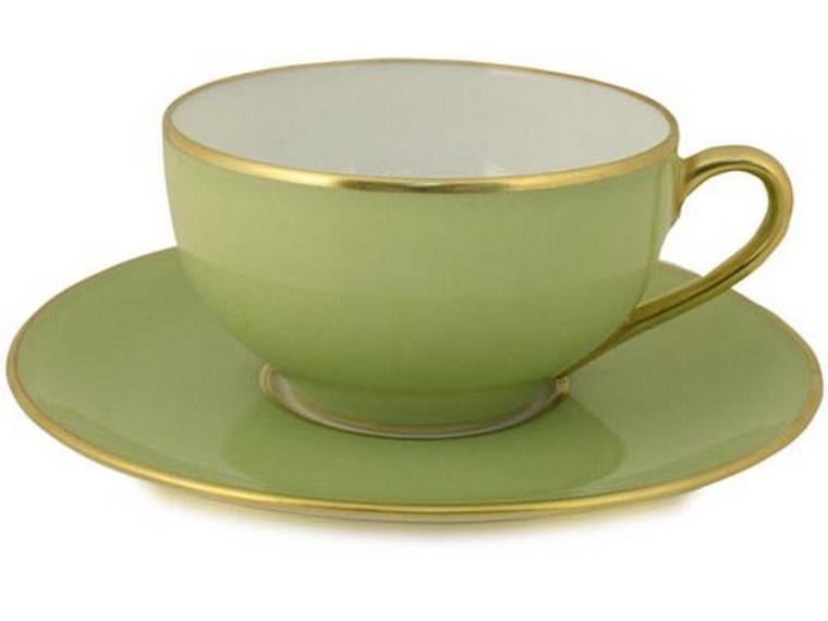 Limoges Legle Tea Cup & Saucer - Pastel Green