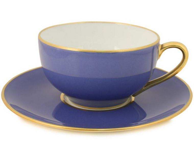 Limoges Legle Tea Cup & Saucer - Provencal Blue